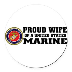 Marine Proud Wife Round Car Magnet