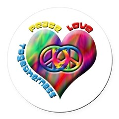 Peace Love Togetherness Round Car Magnet