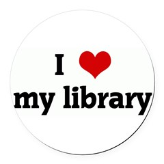 I Love my library Round Car Magnet