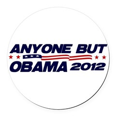 Anyone But Obama Round Car Magnet