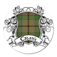 Craig Tartan Shield Round Car Magnet