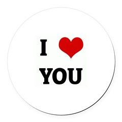 I Love YOU Round Car Magnet