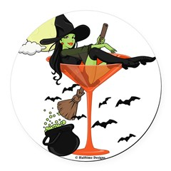 Halloween Martini Girl Round Car Magnet