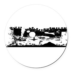 Lost Island White Round Car Magnet