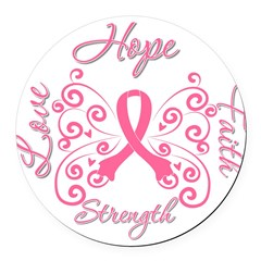 Breast Cancer Butterfly Hope Round Car Magnet
