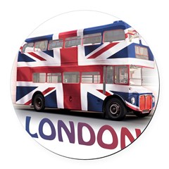 London Bus with Union Jack an Round Car Magnet