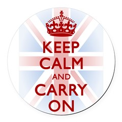 Keep Calm and Carry On Round Car Magnet