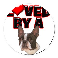 Loved by a Boston Terrier Round Car Magnet