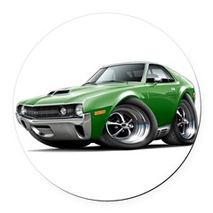1970 AMX Green Car Round Car Magnet