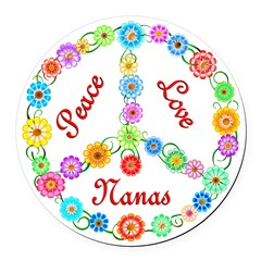 Peace Love Nanas Round Car Magnet