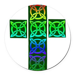 Glowing Celtic Cross Round Car Magnet