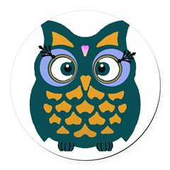 Retro Owl Round Car Magnet