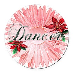 Dancer Pink Snow Flower Round Car Magnet