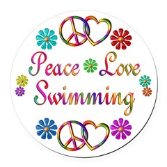 Peace Love Swimming Round Car Magnet