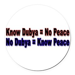 No Dubya Round Car Magnet