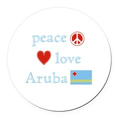 Peace, Love and Aruba Round Car Magnet