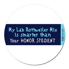 Lab Rottweiler Mix Round Car Magnet