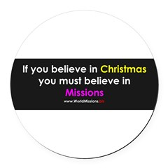 Christmas & Mission Round Car Magnet