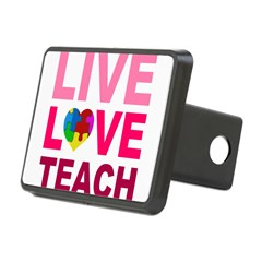 Live Love Teach Autism Rectangular Hitch Cover