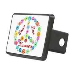 Peace Love Hamsters Rectangular Hitch Cover