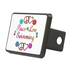 Peace Love Swimming Rectangular Hitch Cover