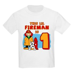 Fireman First Birthday Kids Light T-Shirt
