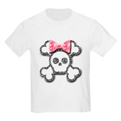 Girl Skull and Crossbones Pink Bow Kids Light T-Shirt