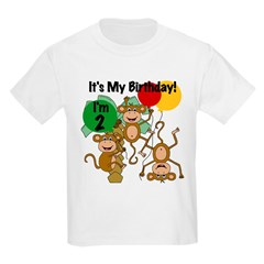 Monkey 2nd Birthday Kids Light T-Shirt