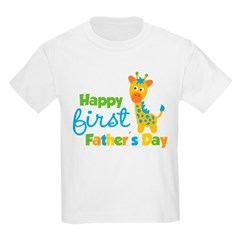 Giraffe 1st Fathers Day Kids Light T-Shirt