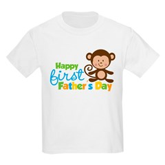 Boy Monkey Happy 1st Fathers Day Kids Light T-Shirt