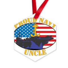 Proud Navy Uncle Hexagon Ornament