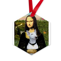 Mona Lisa /Bull Terrier Hexagon Ornament