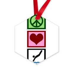 Peace Love Diving Hexagon Ornament