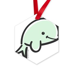 Cute Baby Beluga Hexagon Ornament