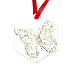 Embossed Butterfly Hexagon Ornament