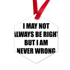 I may not always be right Hexagon Ornament