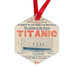 Titanic Advertising Card Hexagon Ornament