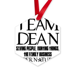 Team Dean Supernatural Winchester Hexagon Ornament