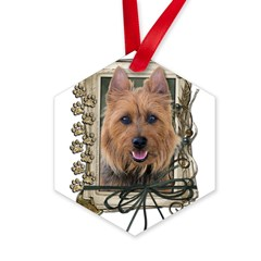 Fathers Day Stone Paws Aussie Terrier Hexagon Ornament