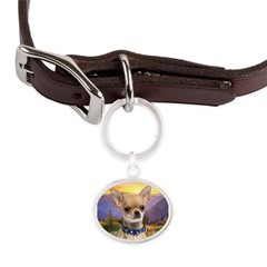 Chihuahua Meadow Large Oval Pet Tag