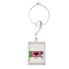 Peace Love America Portrait Wine Charm
