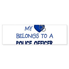 Police Officer's Heart Rectangle Sticker (Bumper)