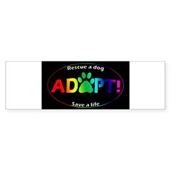 Adopt Sticker (Multi on Black) Sticker (Bumper)