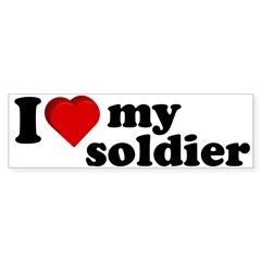 I Love My Soldier Rectangle Sticker (Bumper)
