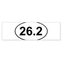 Marathon 26.2 White Oval Sticker (Bumper)