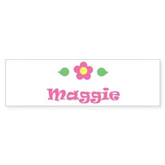 "Pink Daisy - ""Maggie"" Rectangle Sticker (Bumper)"