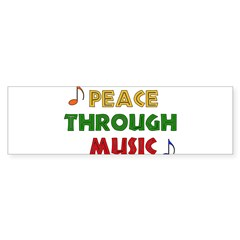 Peace Through Music Rectangle Sticker (Bumper)