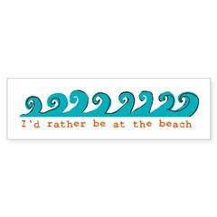 I'd rather be at the beach Rectangle Sticker (Bumper)