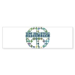 Retro Peace Sign Imagine Rectangle Sticker (Bumper)