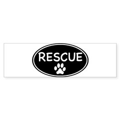 Rescue Black Oval Oval Sticker (Bumper)